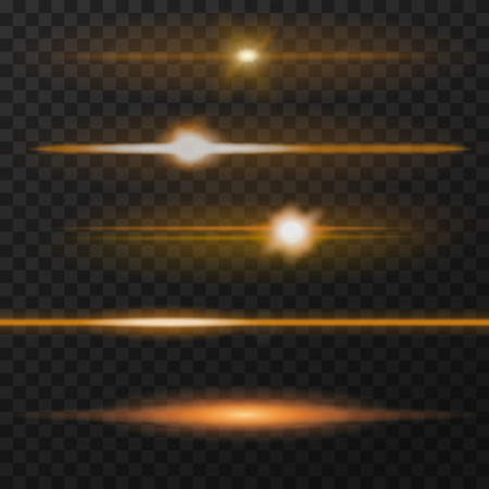 Orange horizontal lens flares pack. Horizontal light rays. Vector, eps10. 矢量图像