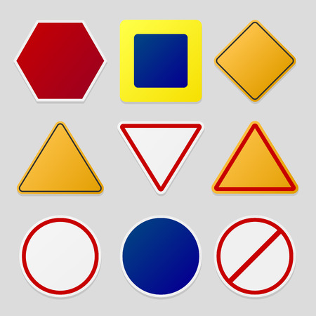 stop icon: Road signs template pack. Colorful, vector, eps10.