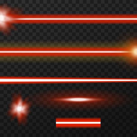 Red laser beams, three variatons of rays. Flares and part of ray. Vector, eps10.