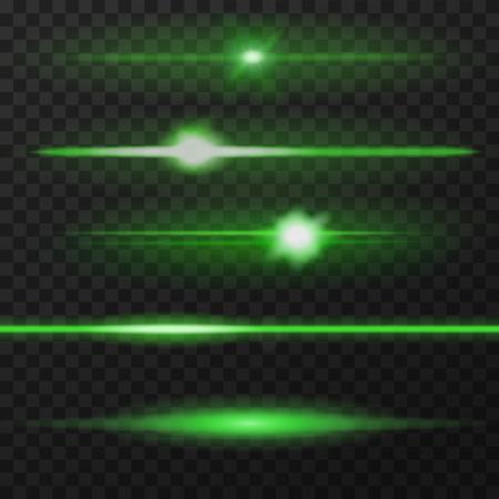 light green: Green horizontal lens flares pack. Horizontal light rays. Vector, eps10.