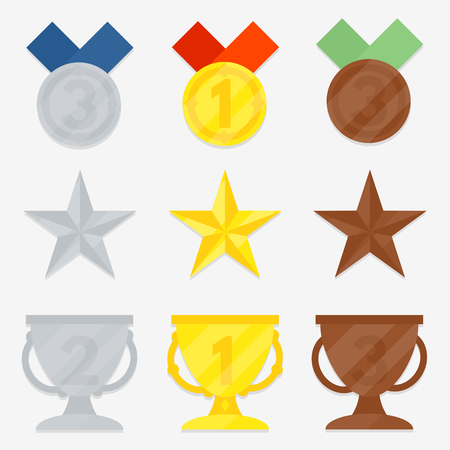 silver medal: Three variations of awards. Star, cup, medal. Gold, silver, bronze. The first, second, third place.