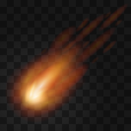 meteor: Falling meteor from space. Fireball. Light effect, vector. eps10