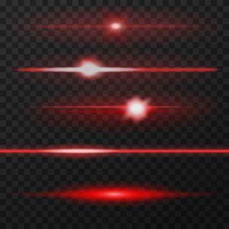 Paquete de destellos de lentes horizontales rojas. Los rayos láser, los rayos de luz horizontales. Ilustración de vector