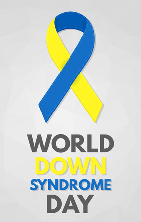 congenital: World Down Syndrome Day poster. Detailed badge. Blue and yellow ribbon. Low poly, geometric.
