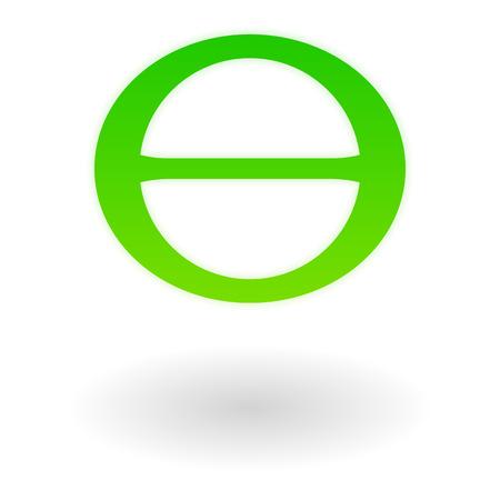 The green Greek letter theta. Earth day symbol.