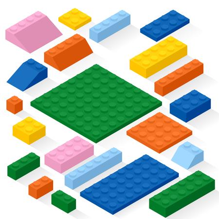 details: Set of 21 different colorful details. Kit, bricks.