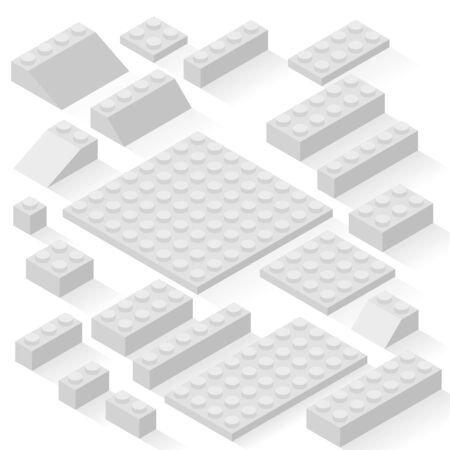 the details: Set of 21 different details. Kit, bricks. Illustration