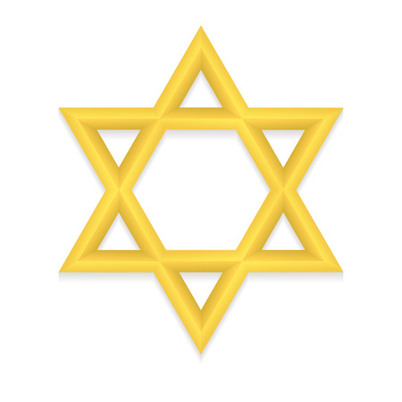 hexagram: Golden six pointed geometric star figure. Star of David. Hexagram. Illustration