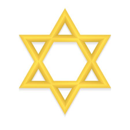 hexagram: Golden six pointed geometric star figure. Star of David. Hexagram. Illustration