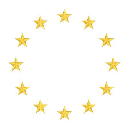 Circle of bright, gold stars. European Union symbol. EU. 일러스트