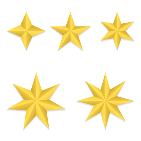Set of five different golden stars