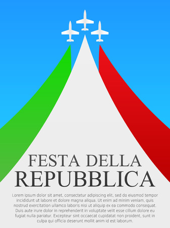 Übersetzung Tag der Republik. Tag der Republik in Italien. Hintergrund, Plakatschablone. Drei Ebenen.