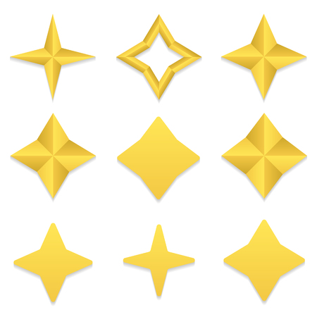 dev: Set of nine different golden four point stars Illustration