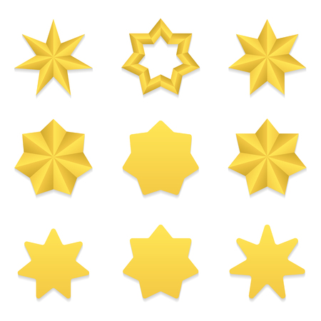 Set of nine different golden seven point stars. 矢量图像