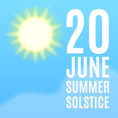 Summer solstice poster. Sun, sky and cloud.