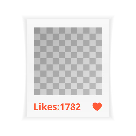 likes: Photo frame with likes. Template, mock up. Illustration