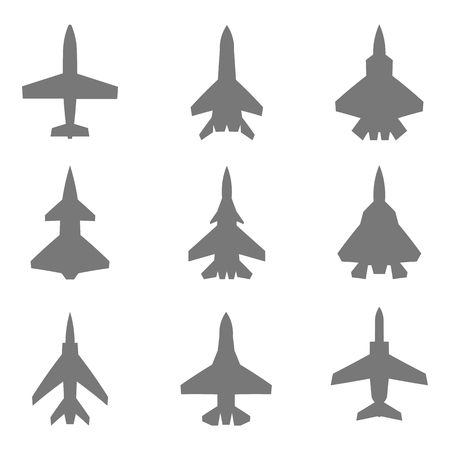 destroyer: Collection of nine different silhouettes of planes. Top view.
