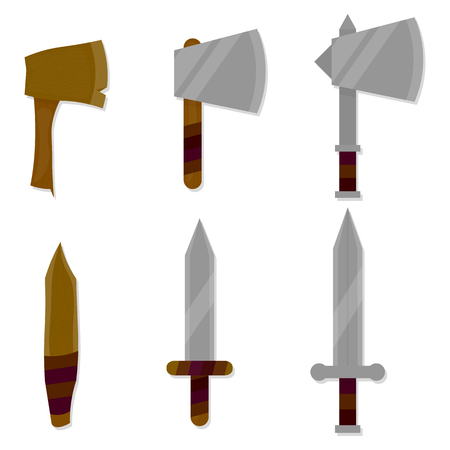 medieval blacksmith: Three variations of flat axes and swords.