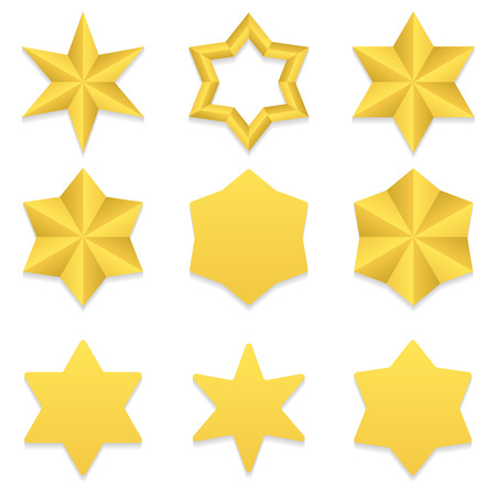 six point: Set of nine different golden six point stars.