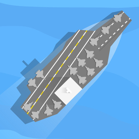 flagship: Aircraft carrier with planes on board. Top view, flat. Illustration