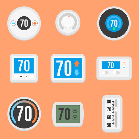 Collection of nine different, flat thermostat icons.