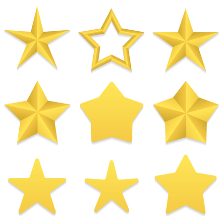 dev: Set of nine different golden five point stars. Four stars with rounded corners. One star with a hole. Vector, eps 10. Illustration