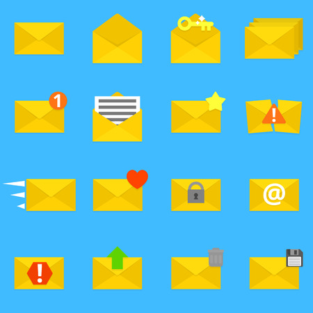 thrash: Collection of sixteen detailed envelope icons. Vector, eps 10. Illustration