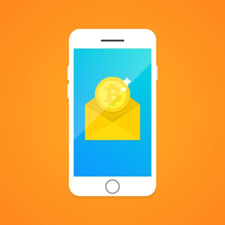 sms payment: Concept of Bitcoin transaction via SMS. Vector, eps10.
