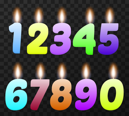 3 5 years: Set of colorful birthday candles. Isolated, vector, eps 10 Illustration
