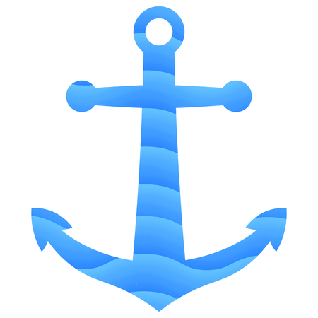 Flat anchor icon with sea waves gradient texture. Vector, eps 10. Illustration