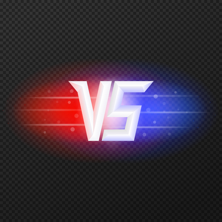 versus: Versus isolated logo. Competition symbol VS. Red and blue lights. Vector, eps 10.
