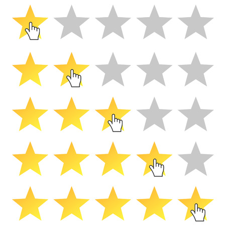rating: Five stars rating. Cursor icon. Set rating from one to five stars. Isolated, vector, eps 10.