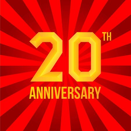 20th: 20th anniversary poster. Golden embossed and flat font at red rays background. Isolated, vector, eps 10.