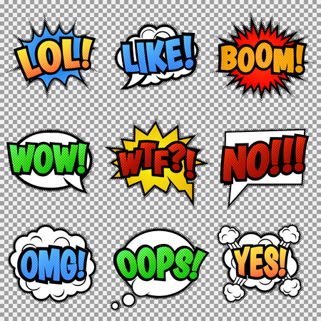 lol: Set of nine different, colorful comic stickers. Pop art speech bubbles with LOL, LIKE, BOOM, WOW, WTF, NO, OMG, OOPS, YES Isolated vector eps 10