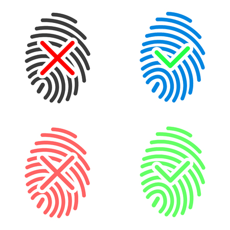 Fingerprint icons with check marks. Two color variations, approved and denied. Isolated, vector, eps 10.