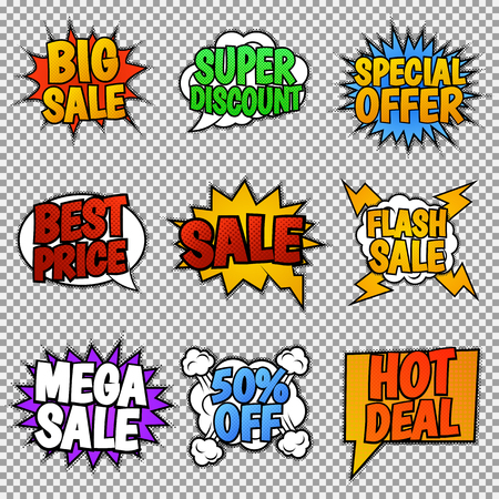 bomb price: Set of nine sale tags. Pop art style, speech bubbles. Vector, isolated, eps 10