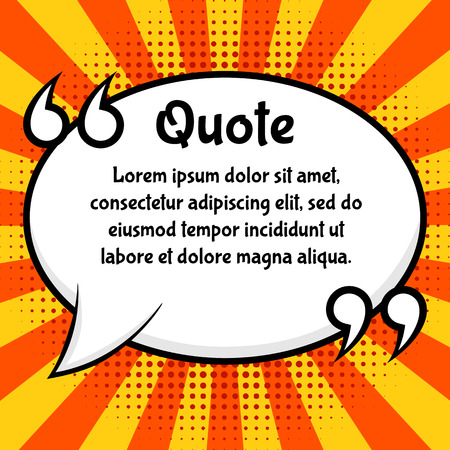 Quote blank. Speech bubble, pop art style. Rays background with halftones. Vector, isolated, eps 10