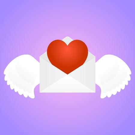 telegrama: Sobre blanco con alas y el coraz�n en el interior en el fondo rosado del gradiente. 14 de febrero D�a de San Valent�n s. Vector, aislado, eps 10.