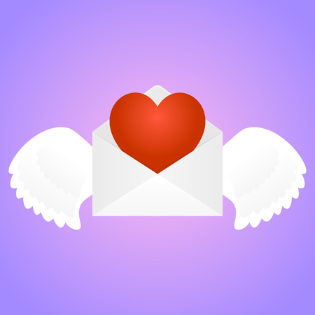 valentine s: White envelope with wings and heart inside at pink gradient background. February 14, Saint Valentine s Day. Vector, isolated, eps 10.