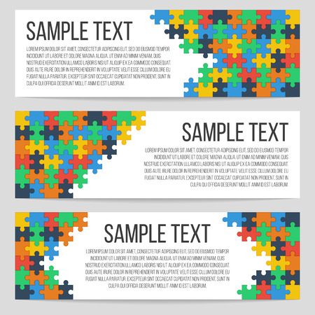 Three horizontal banners template with abstract puzzle background. Isolated, vector, eps 10. 矢量图像