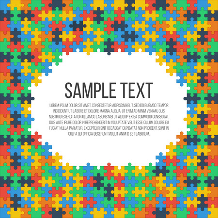 Colorful puzzle frame. Place for your text. Vector, eps 10