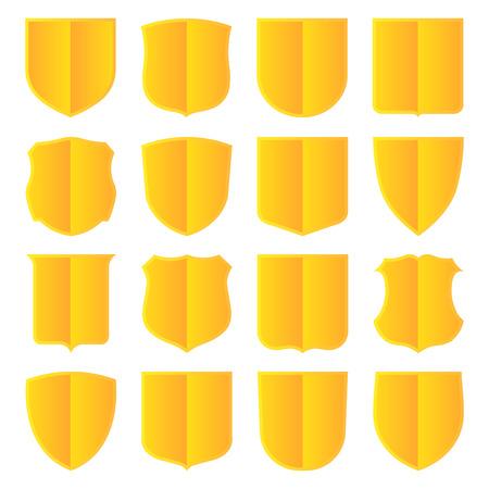 achievment: Set of sixteen golden shields. Vector, isolated eps 10