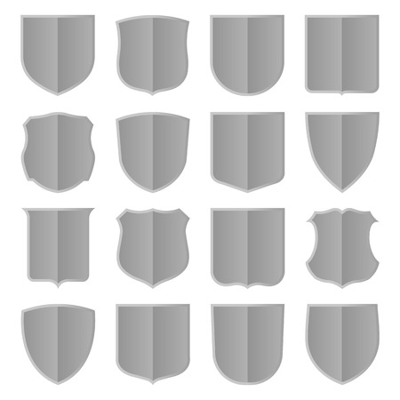 achievment: Set of sixteen silver shields. Vector, isolated eps 10