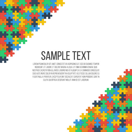 puzzle corners: Colorful puzzle in the corners of the image. Bright abstract frame, place for your text. Vector, eps 10.