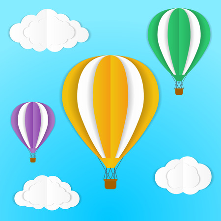Origami hot air balloon and clouds in the sky. Vector, isolated, eps 10.