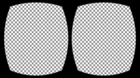 oled: Virtual reality glasses overlay on the transparent background. View from the vr helmet. Vector, template, isolated, eps 10.