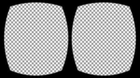 Virtual de gafas de realidad superpuesta sobre el fondo transparente. Vista desde el casco de realidad virtual. Vector, plantilla, aislado, eps 10.