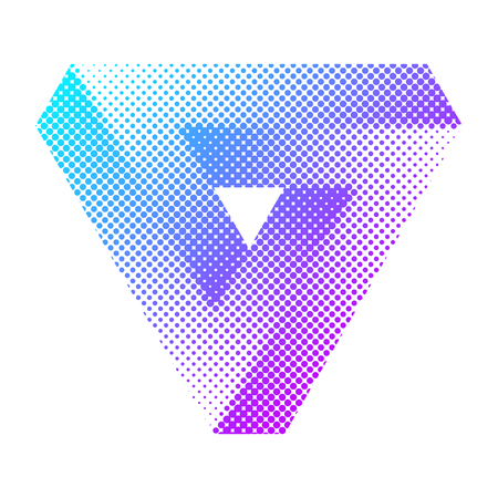 Abstract colorful bright halftone triangle.