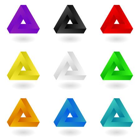 Set of nine bright colorful  triangles.  イラスト・ベクター素材