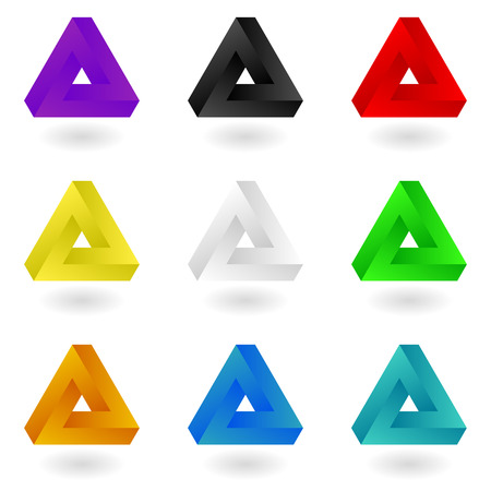 Set of nine bright colorful  triangles. 일러스트